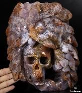 July 2, 2014 ACSAD (A Crystal Skull a Day) - Wise Messenger - Agate Geode Carved Crystal Skull and Owl Sculpture