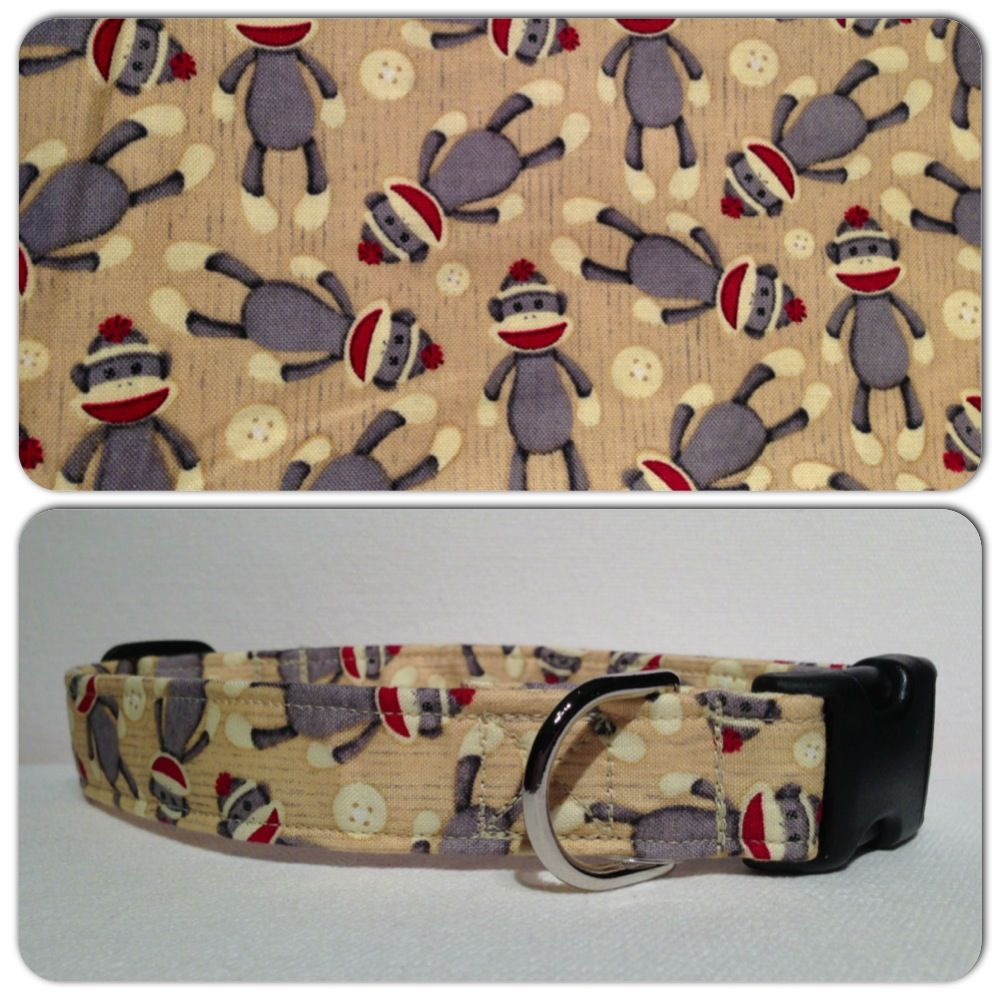 This Sock Monkey Fabric is available in 1/2 inch, 3/4 inch, 1 inch, and 1.5 inch products.  It is shown on a 1 inch collar.  The pattern shown on individual collars will vary based on product width.