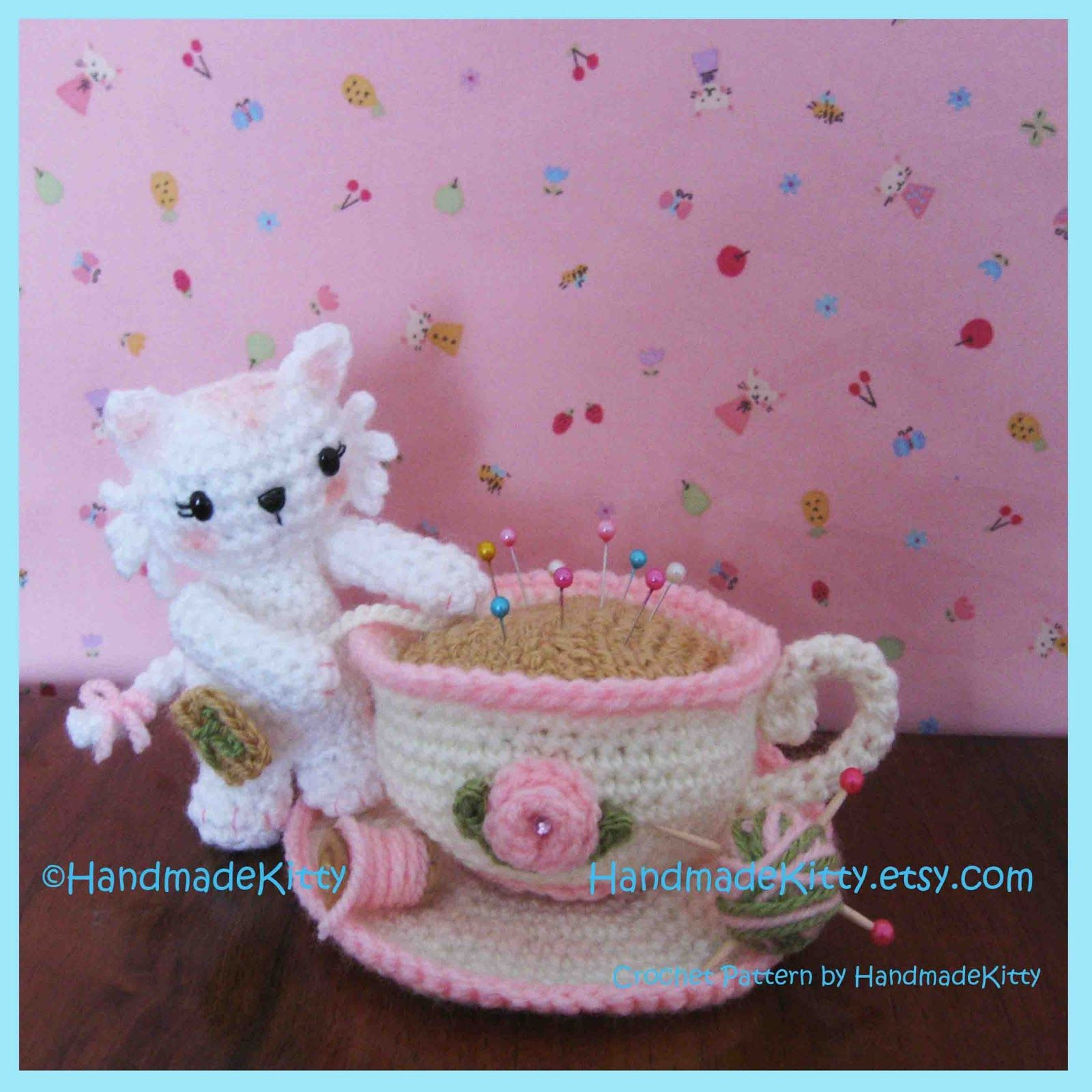 HandmadeKitty: Kitty Playing with Pincushion Teacup Amigurumi Crochet Pattern by Handmadekitty