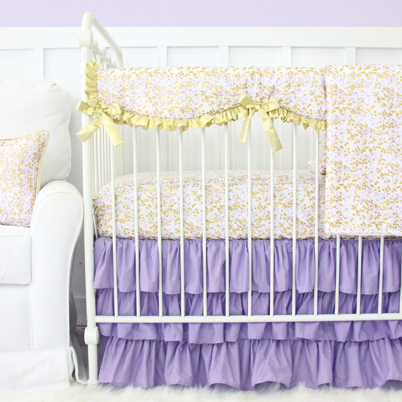Purple Gold Sparkle Crib Bedding Collection An Adorable Crib