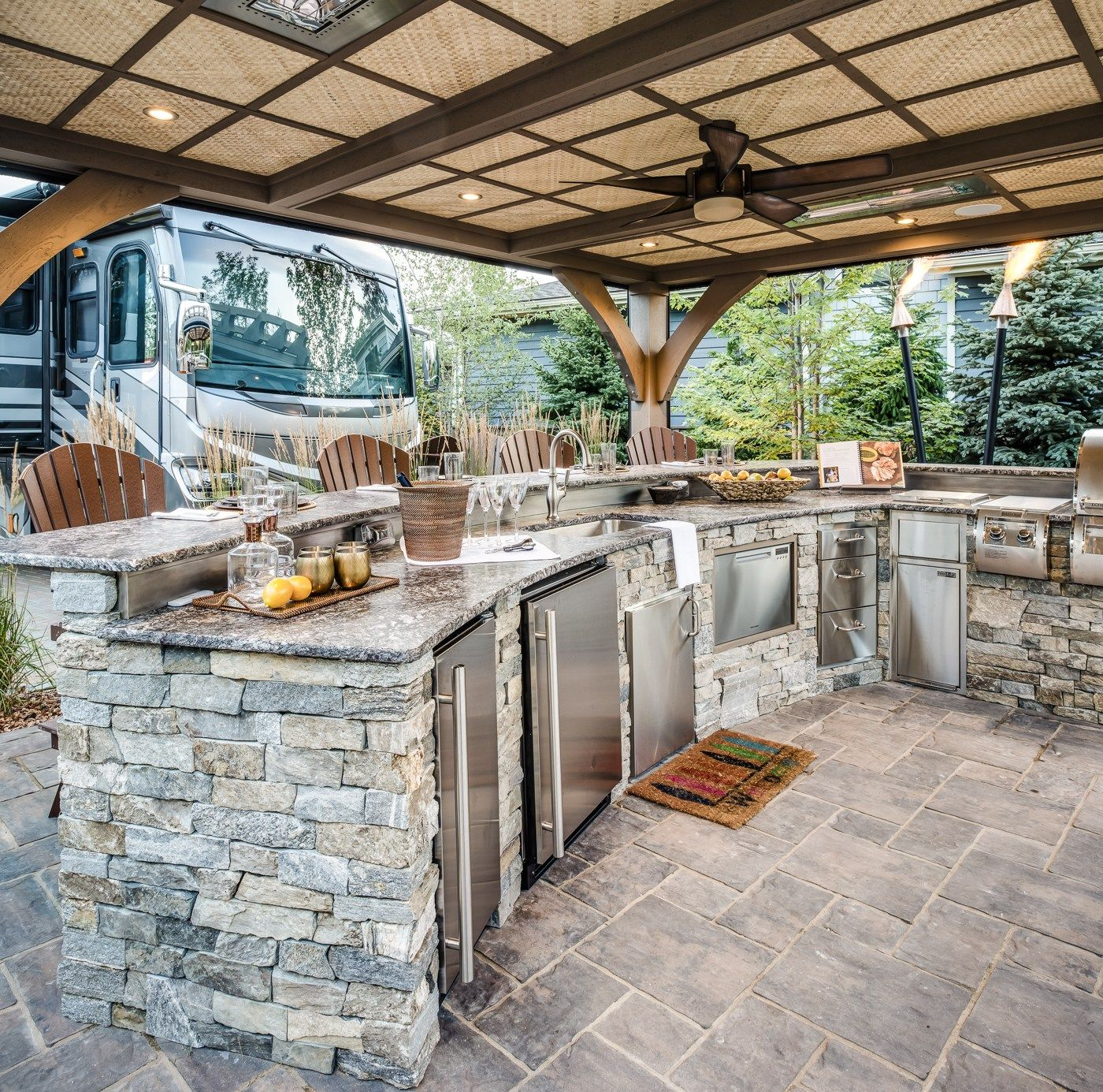 the quiet moose hearthside grove bungalow 232 outdoor spaces outdoor living outdoor on outdoor kitchen and living space id=92154