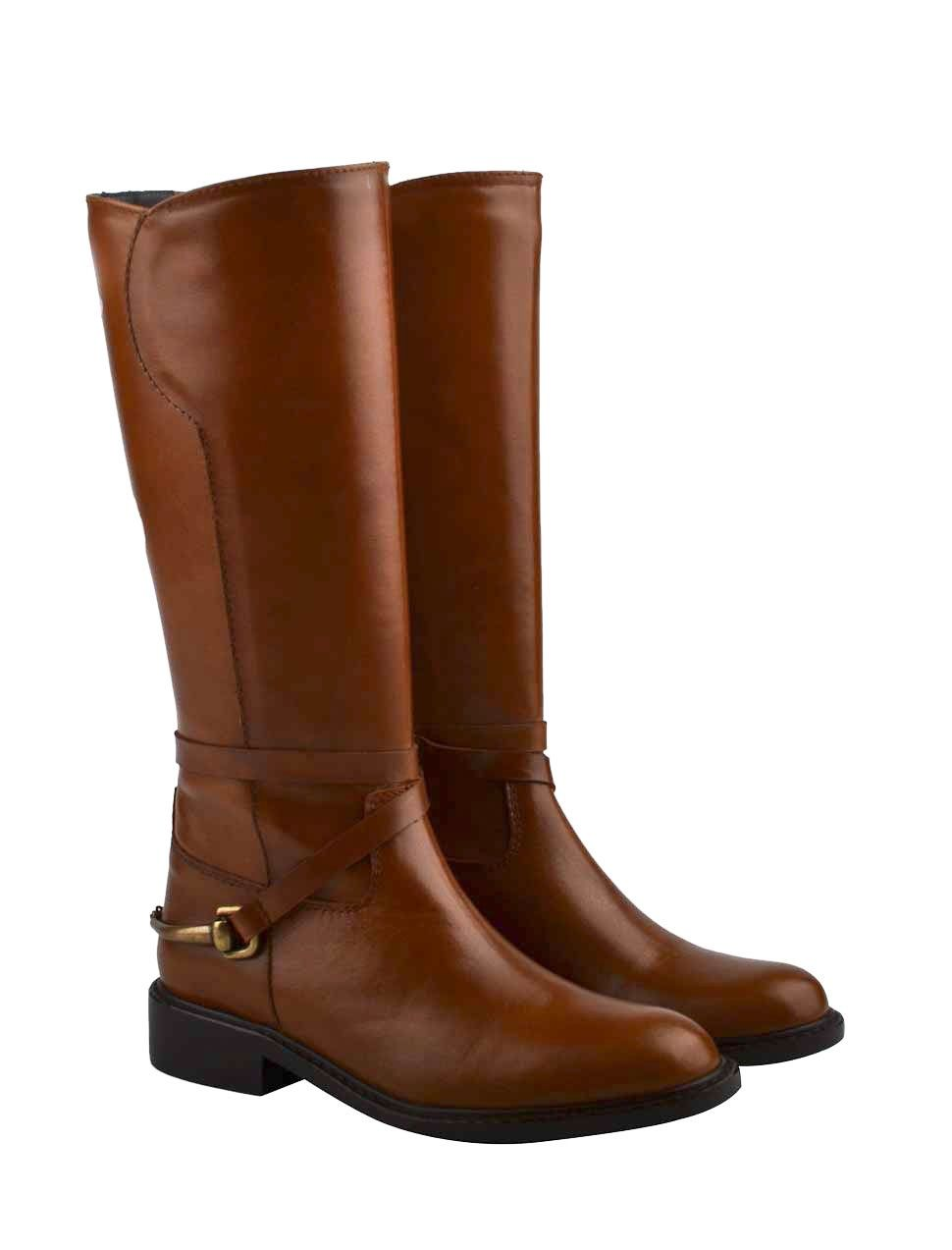 46187b6bd Cognac leather girls boots horseriding model from Eli Zapatos Náuticos