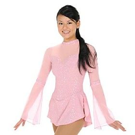 Click Image Above To Buy: Impressive Design Single Layer Ice Skating Dress Long Sleeve Pink