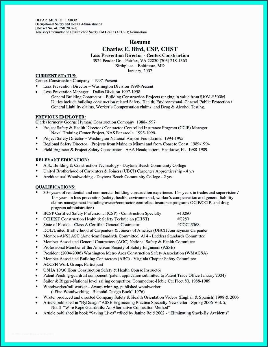 36 Sample Resume Construction Worker