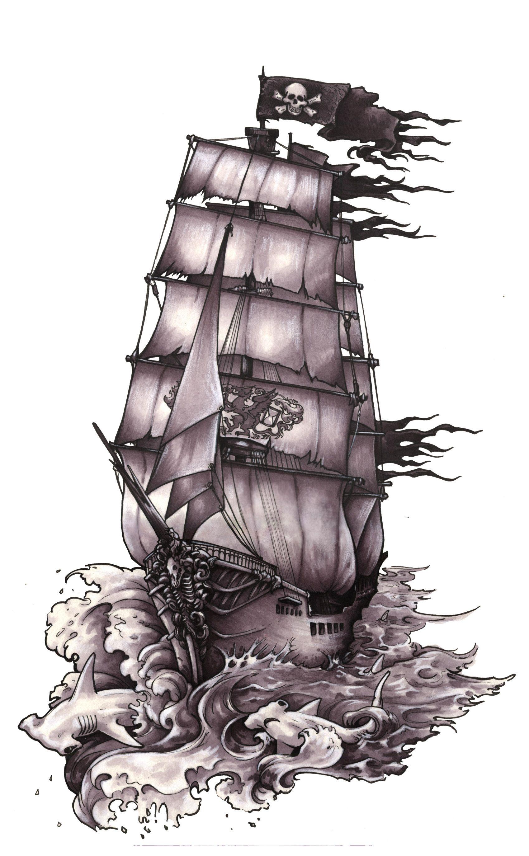 Pirate Ship Tatouage Bateau Tatouage Pirate Bateau Pirate Dessin