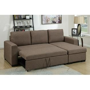 2 Pc Daryl Collection Light Coffee Polyfiber Fabric Upholstered Sectional Sofa Set With Pull Out Slee Sectional Sofa Brown Sectional Sofa Upholstered Sectional