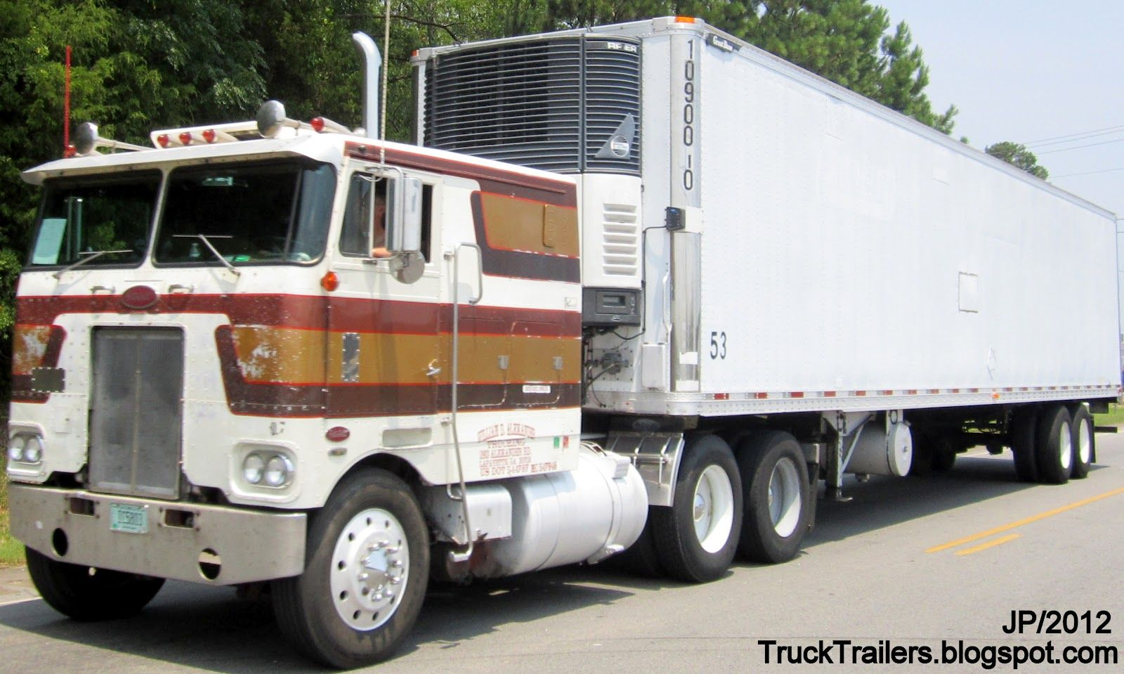 Old cab over semi truck 53 refrigerated great dane trailer