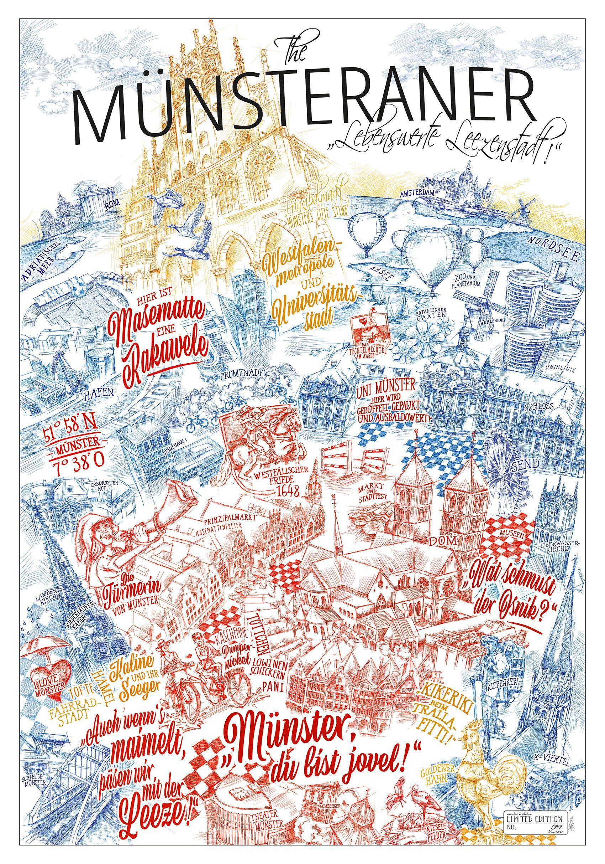The Munsteraner Lebenswerte Leezenstadt In 2020 Skizzen Kunst Munster Bilder Poster