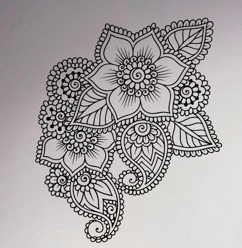 Abstract-Flowers-Mehndi-font-b-Wall-b-font-Vinyl-font-b-Decal-b-font ...