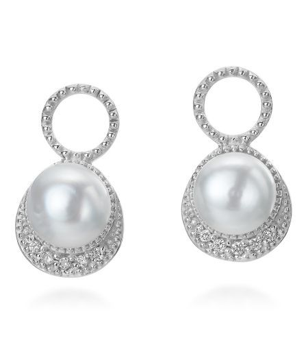 b7351fc66 Zasha Signature - Classic Collection 14K Pearl & Pave Diamond Earring Charms