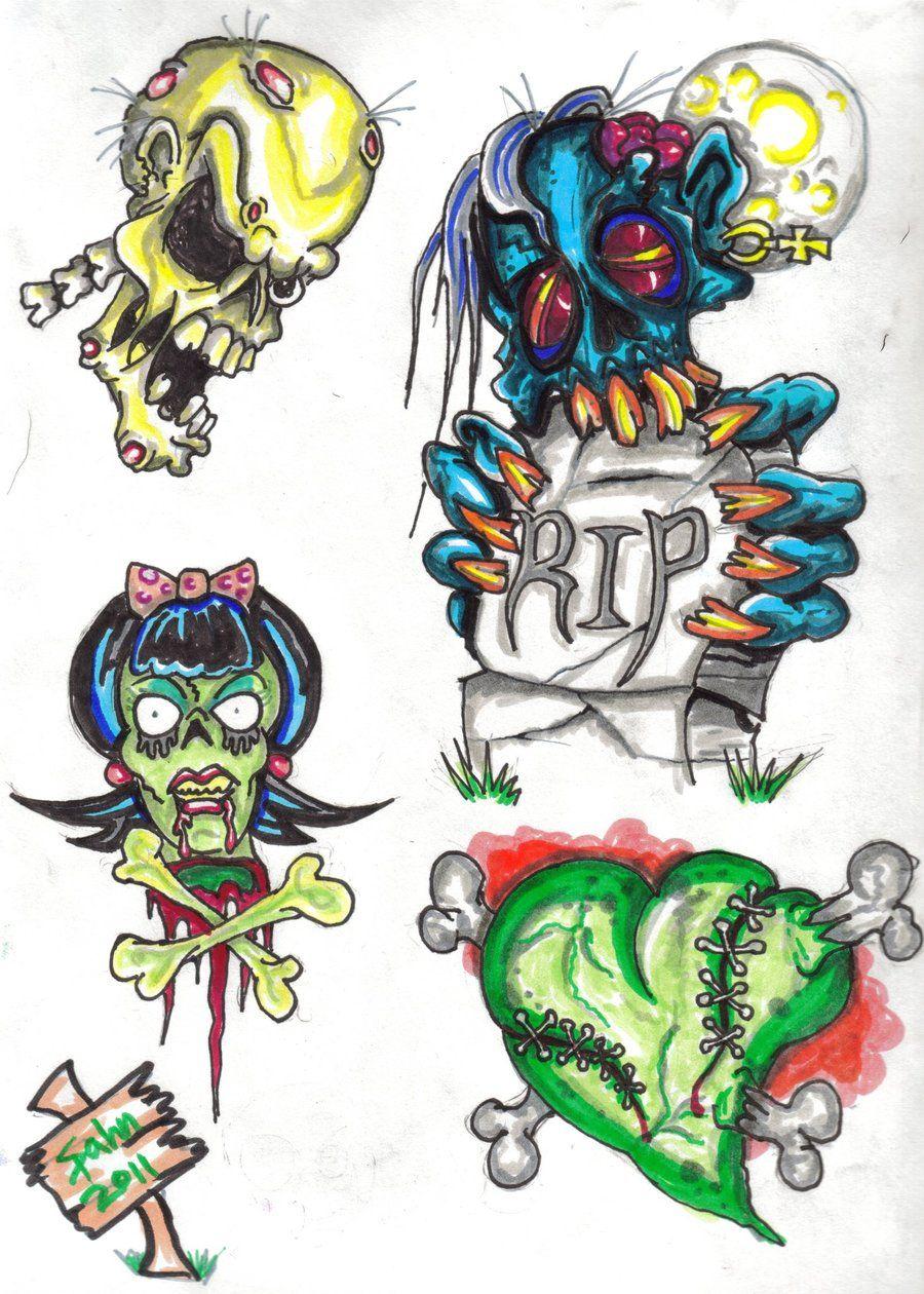 New school tattoo design - New School Tattoo Flashdark Sidezombies