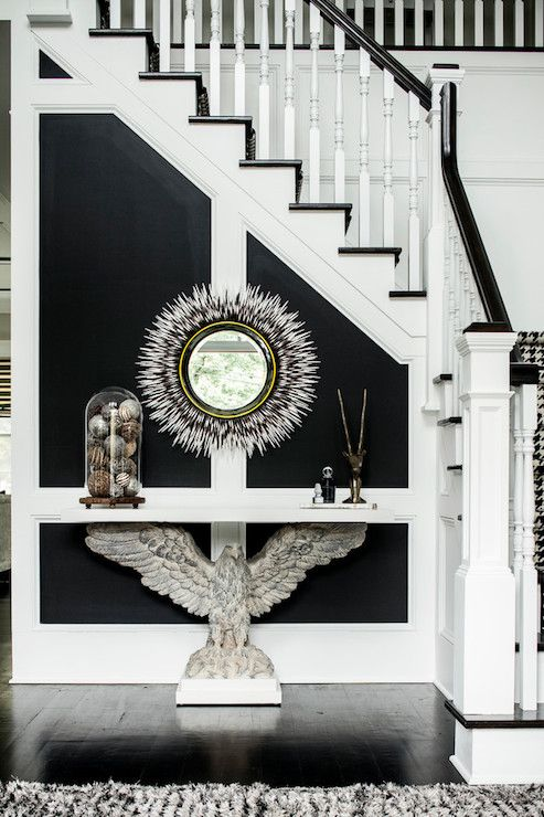 Karen B Wolf Interiors   Entrances/foyers   Copake Eagle Console Table,  Porcupine Quill Mirror, Black And White Foyer, Black And White Stair.