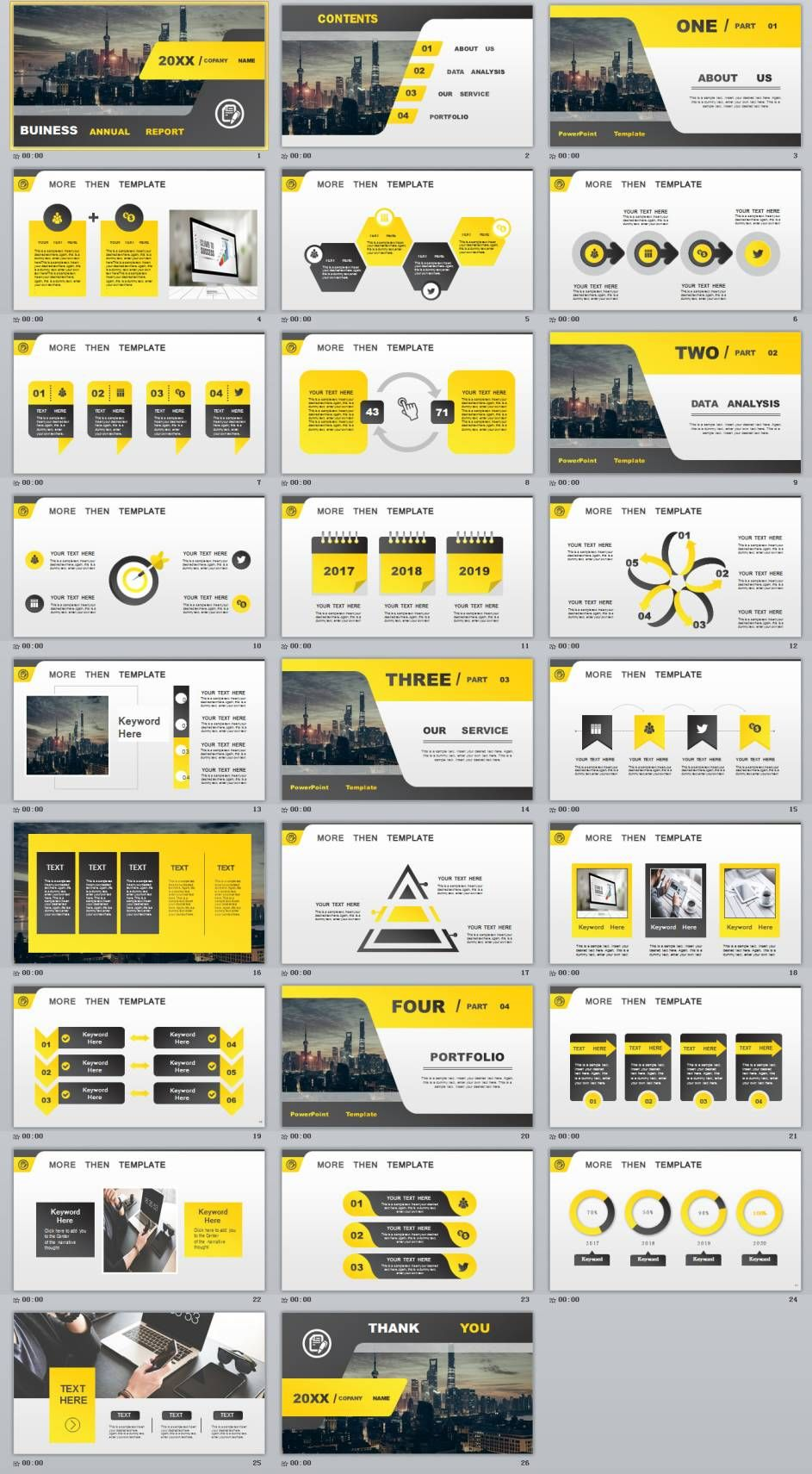 26 yellow business annual powerpoint presentations template ppt