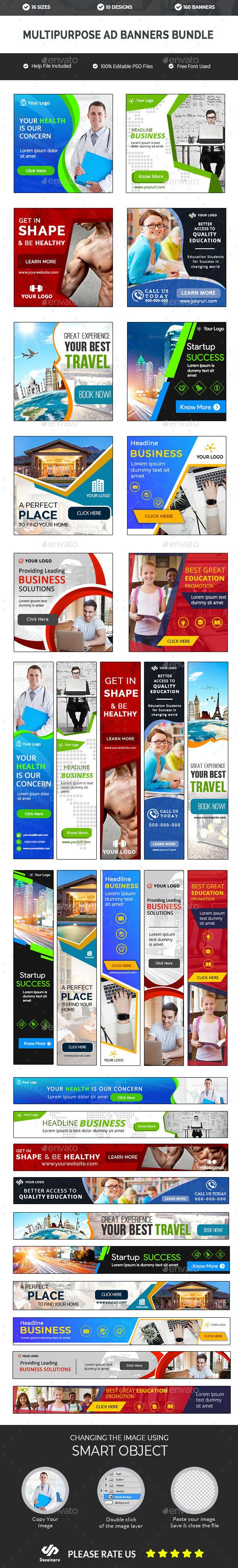Multipurpose Banners Bundle 10 Sets 160 Banners Ar Multipurpose Banner Banner Adwords Banner