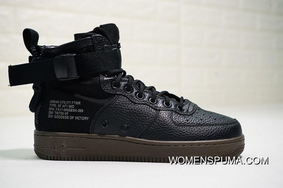 f80ede5e905 Nike SF Air Force 1 Mid 917753-002 Black Black-Dark Hazel Skateboard Shoes  Free Shipping