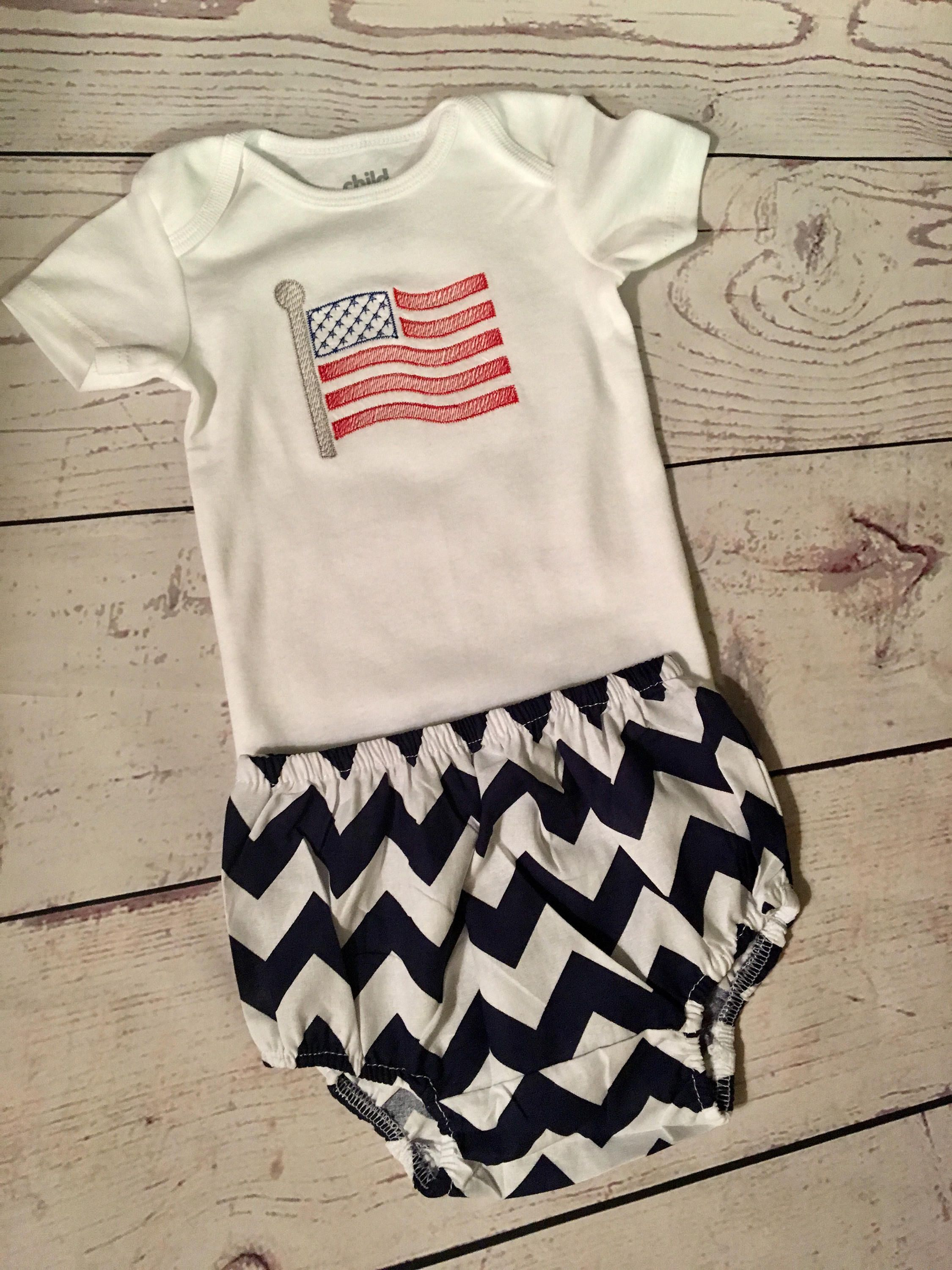 Monogrammed Body Suit Fourth of July Patriotic Baby Clothes