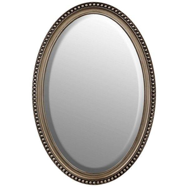 Silver Beaded Framed Oval Mirror 21x31, Oval Silver Beaded Mirror