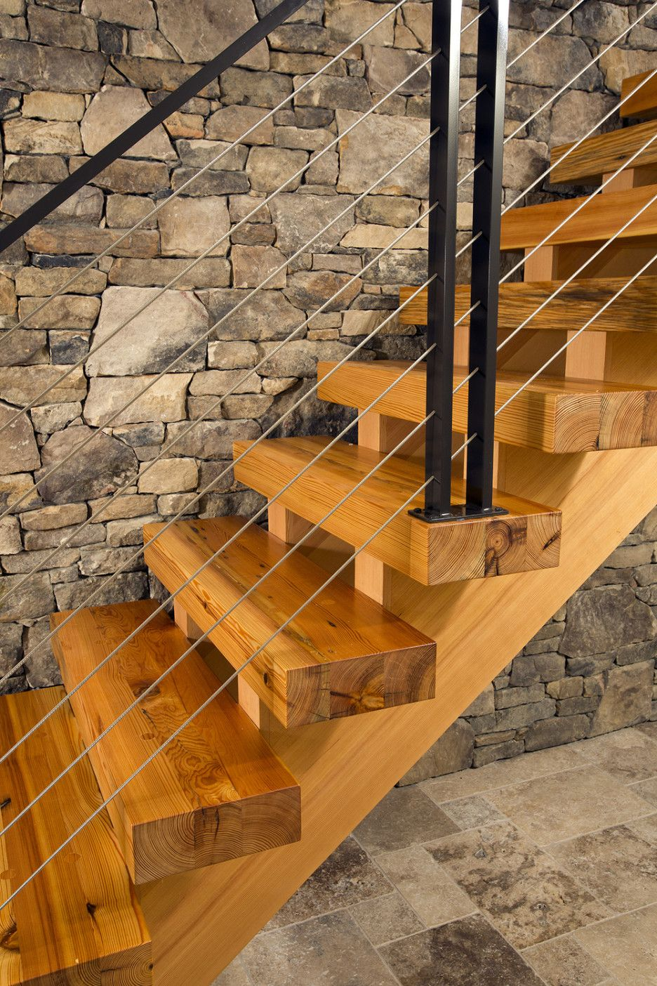 Stone And Wood Make A Dark Masculine Interior: Choosing Heart Pine For Stair Treads : Cool Home Interior