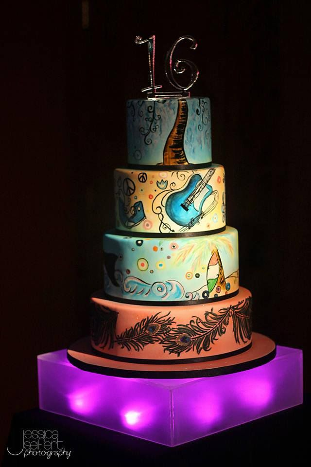 Painted All About Ally Sweet Sixteen Birthday Cake Designed Created By Renay Zamora Of Sweetface Cakes In Nashville TN