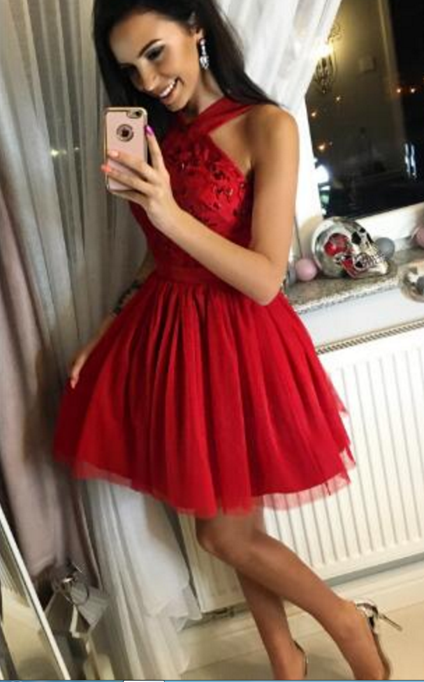 e7ba463f09 A-Line Cross Neck Short Red Tulle Homecoming Dress With Beading ...