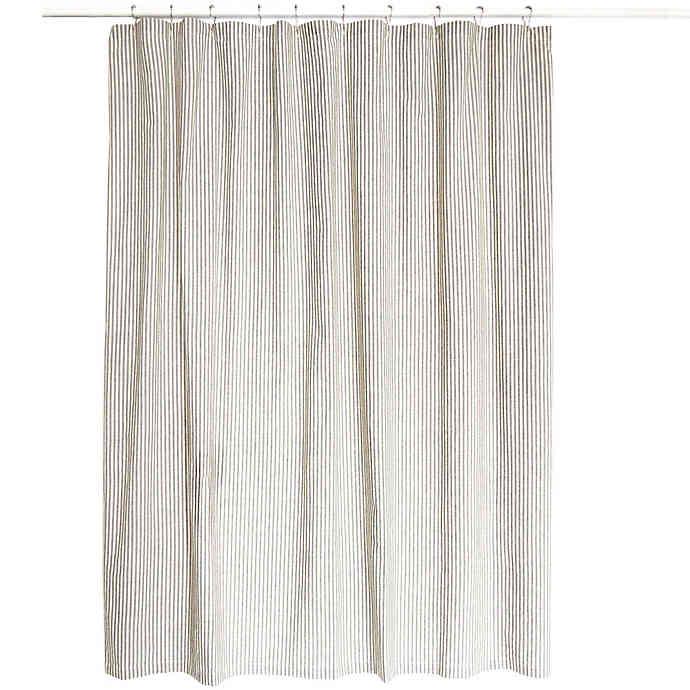Farmhouse Ticking Striped Shower Curtain In Cream Black Curtains