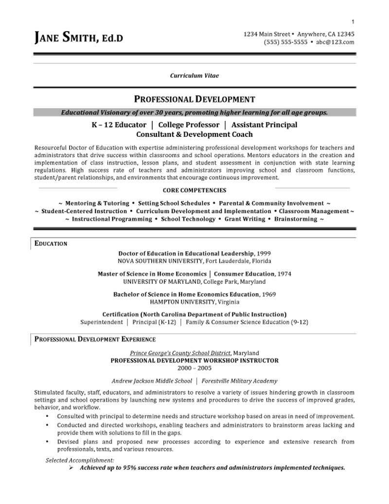 education resume example curriculum vitae format teaching