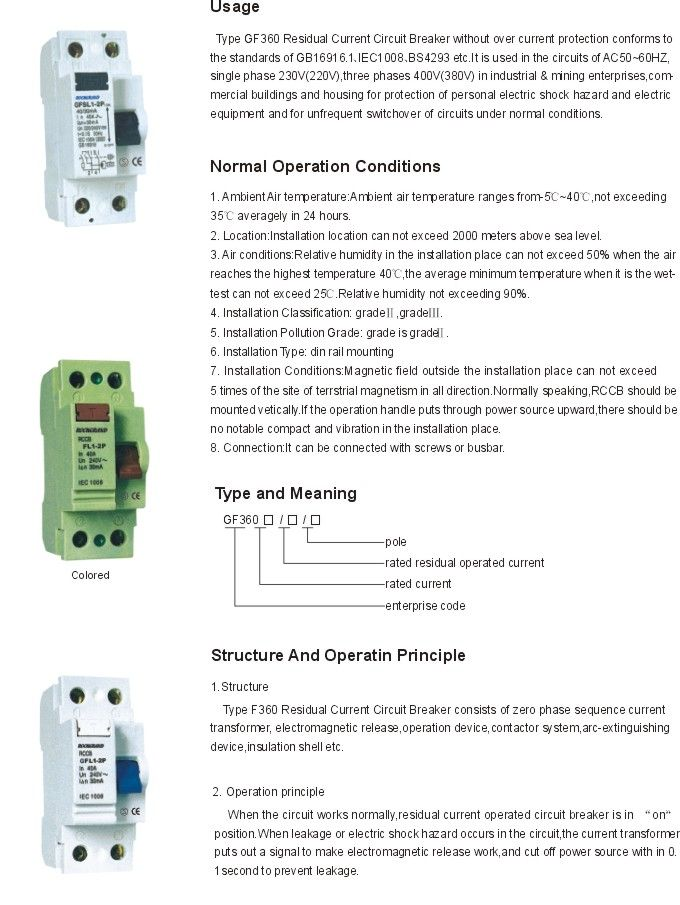 GF360 RESIDUAL CURRENT CIRCUIT BREAKER (RCCB) in 2019