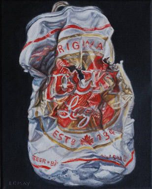 "Robert Lemay LUCKY LAGER / Canada House Gallery - oil, canvas 10"" x 8"""