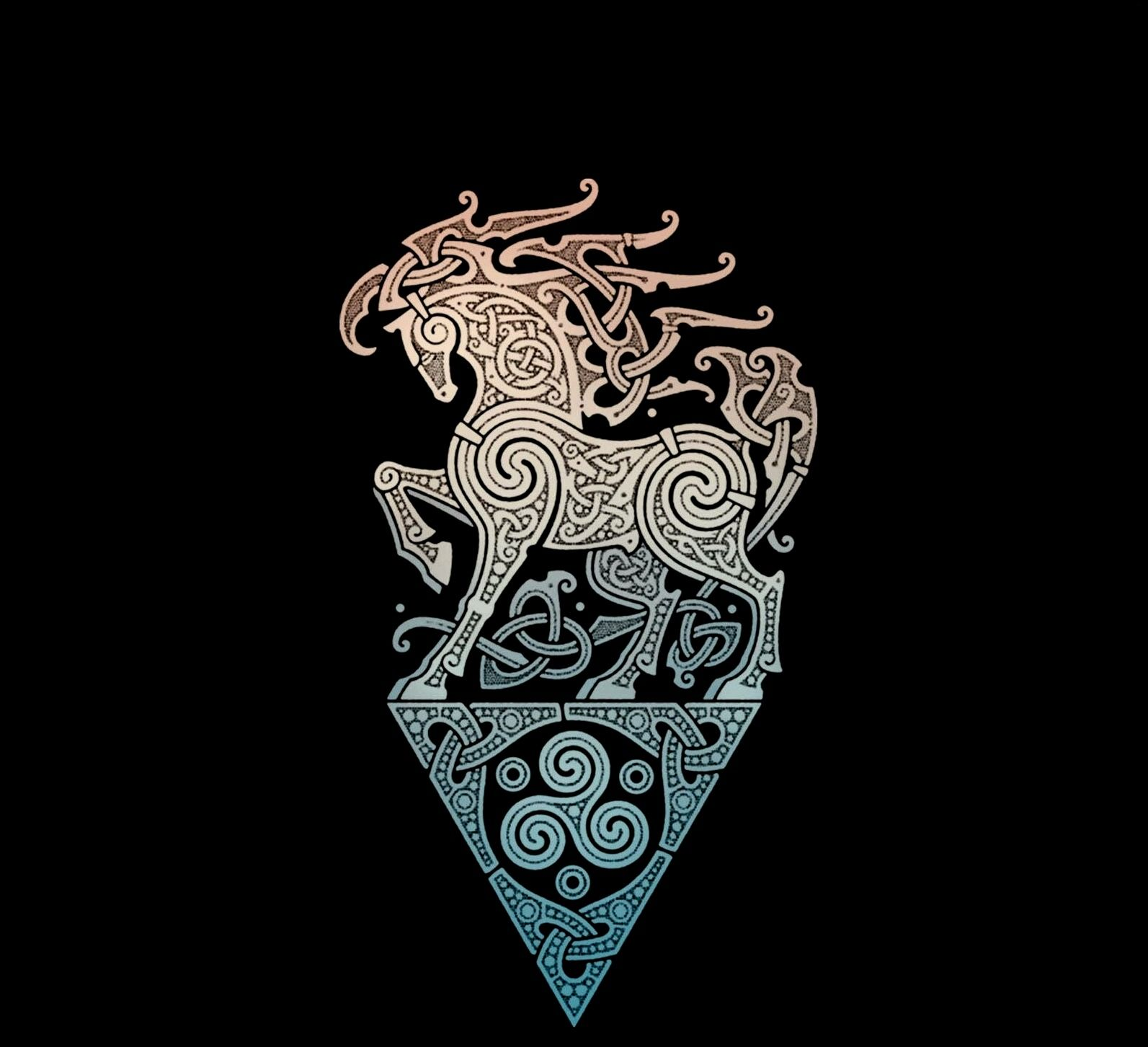 Viking Horse Design Norse Tattoo Viking Art Pattern Tattoo