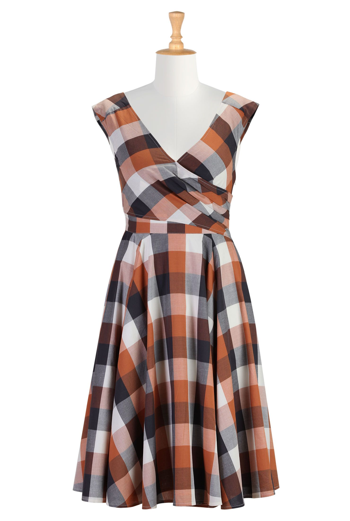 Layered surplice cotton check dress | Country style ...