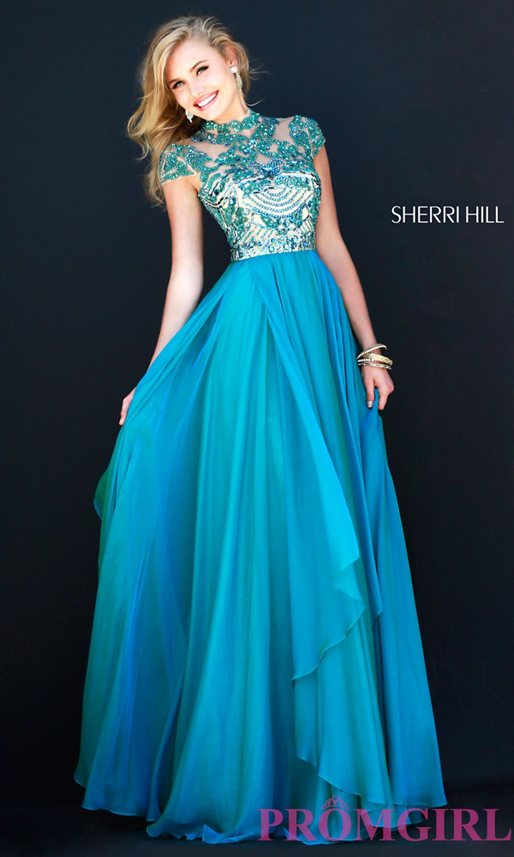 Image of Cap Sleeve Long Beaded Prom Dress Style: SH-1933 Detail ...