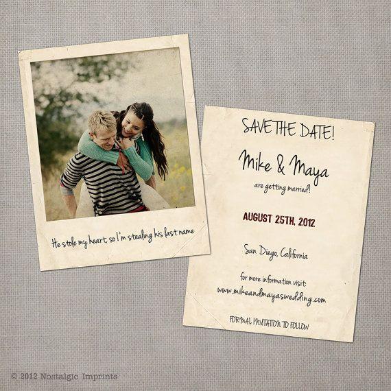Vintage save the dates save the date ideas karte - Polaroid karten ...
