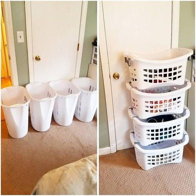 Plastic Laundry Basket Makeover