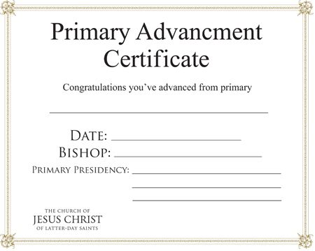 Primary Certificate of Advancement This Ladyu0027s House The church - congratulations certificate