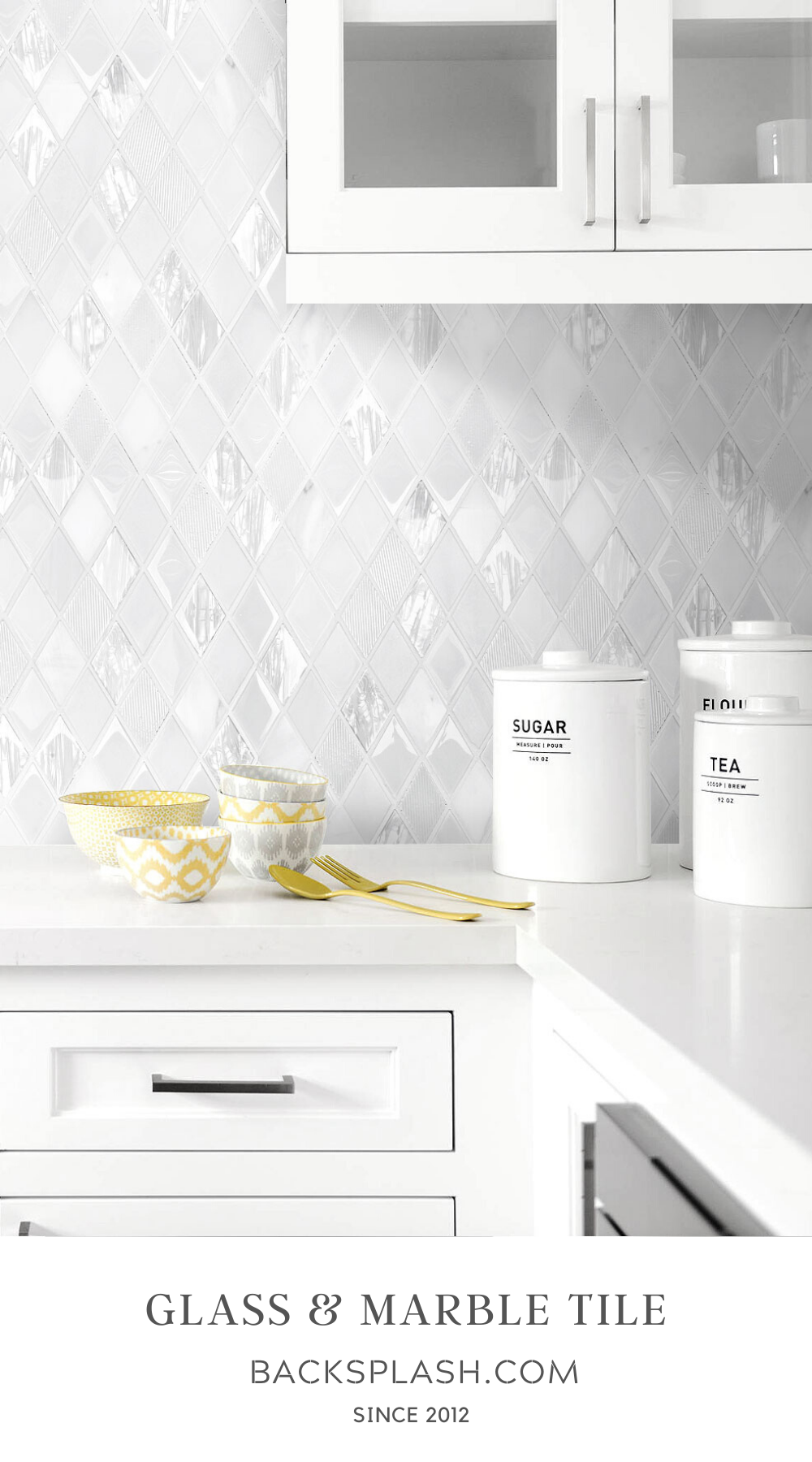 - Elegant White Rhomboid Backsplash Tile Backsplash.com In 2020