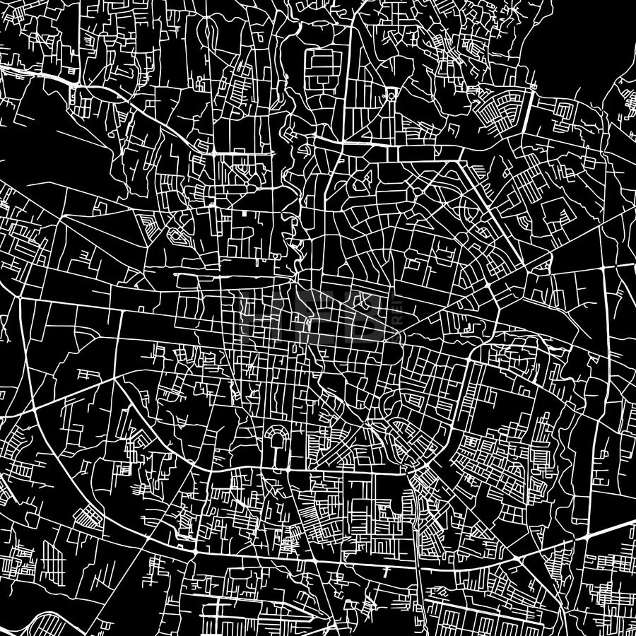 Bandung, Indonesia, downtown vector map.  Art print pattern. White streets, railways and water on black. Bigger bridges with outlines. This map will s... ... #map #downloadable #background #vector #design
