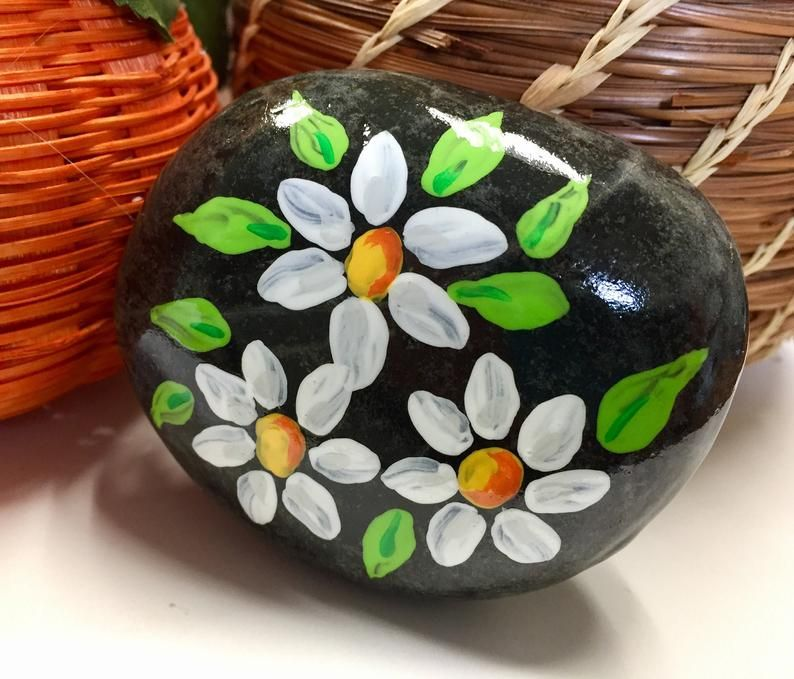 Daisies painted rock mothers day gift easter gift