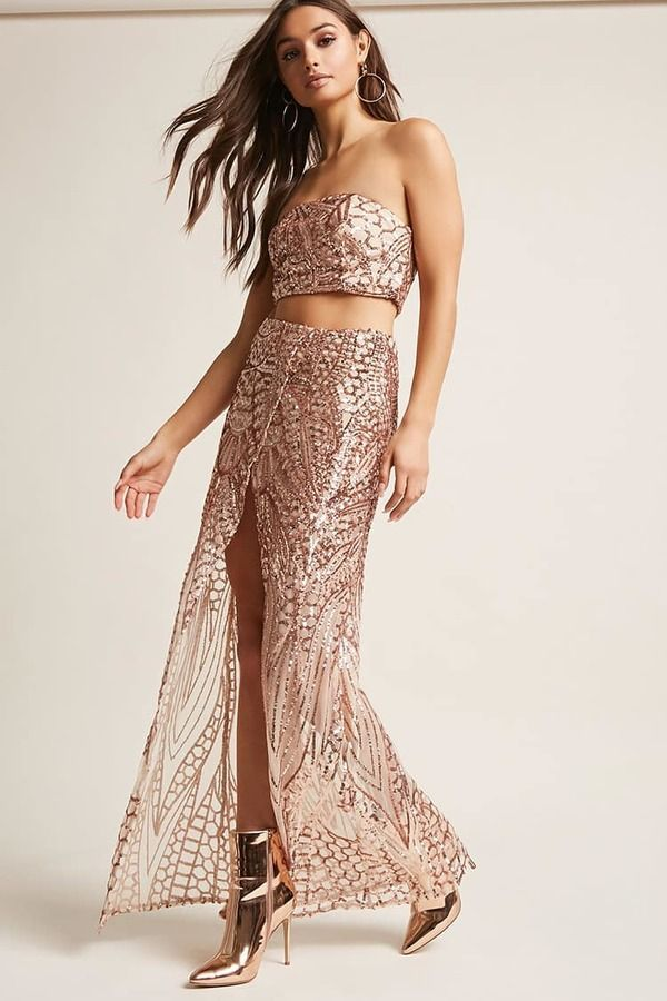 851d15897 Forever 21 Mesh Sequin Crop Tube Top & Maxi Skirt Set   Products in ...