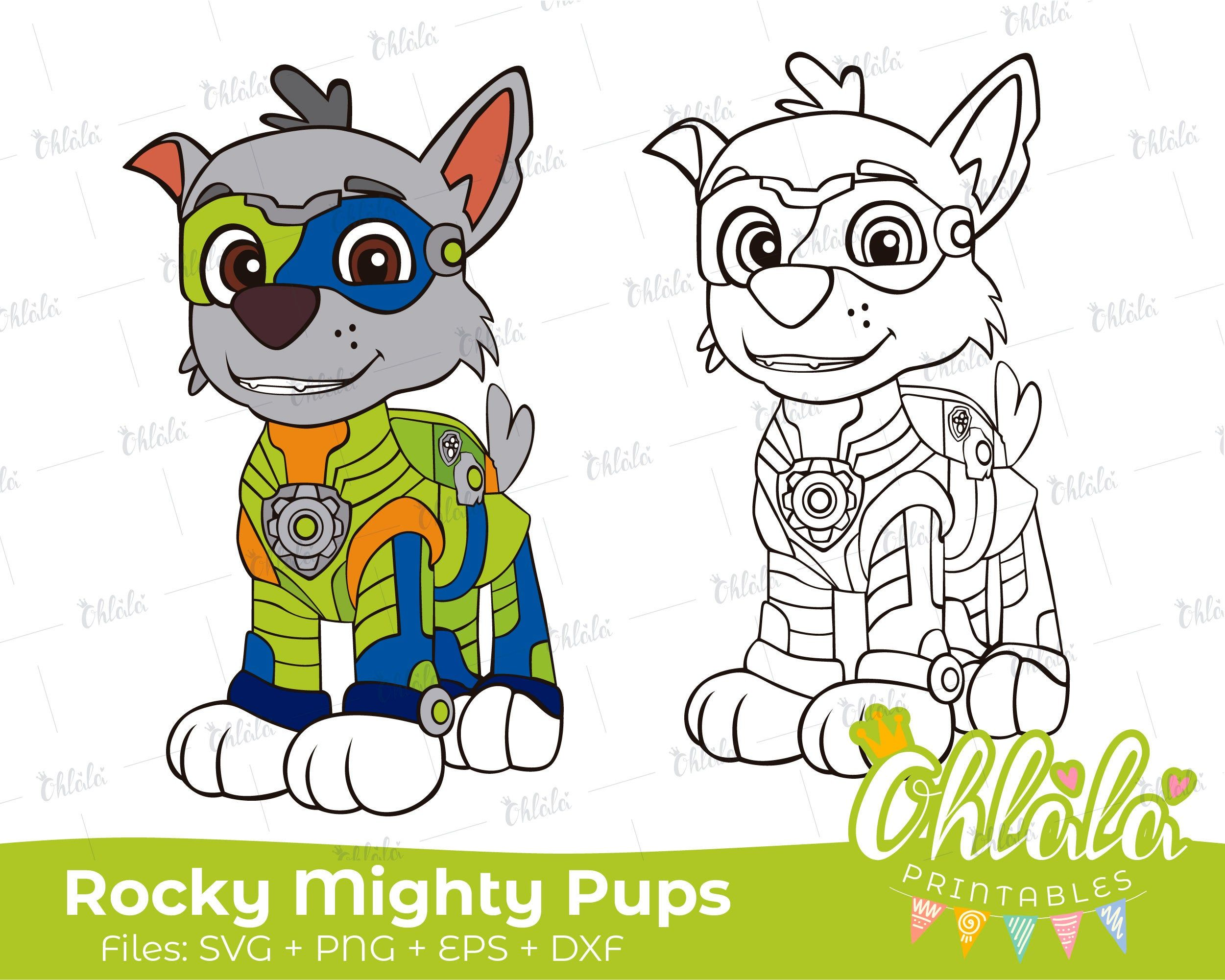 Rocky Paw Patrol Mighty Pups Clipart Character Movie Svg Png Eps Dxf Files Printables Party Happy Birthday Cutti Paw Patrol Coloring Paw Patrol Pups Paw Patrol