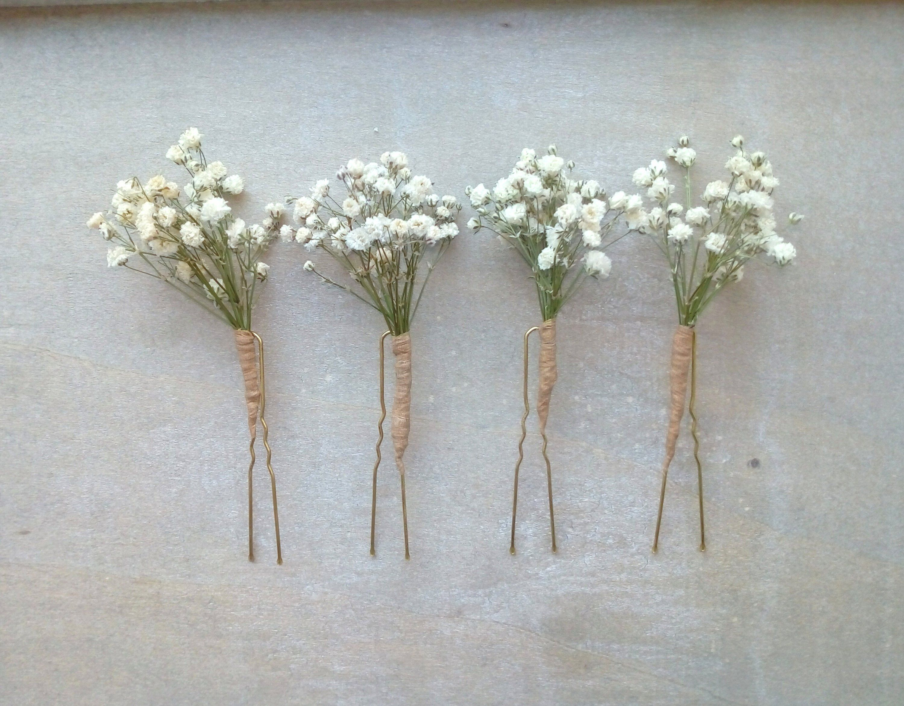 Dried Flower Hair Pins Dried Gypsophila Pins Baby S Breath Wedding Flower Pins Bridal Pins Flower G Flower Hair Pin Flowers In Hair Flower Girl Hairstyles