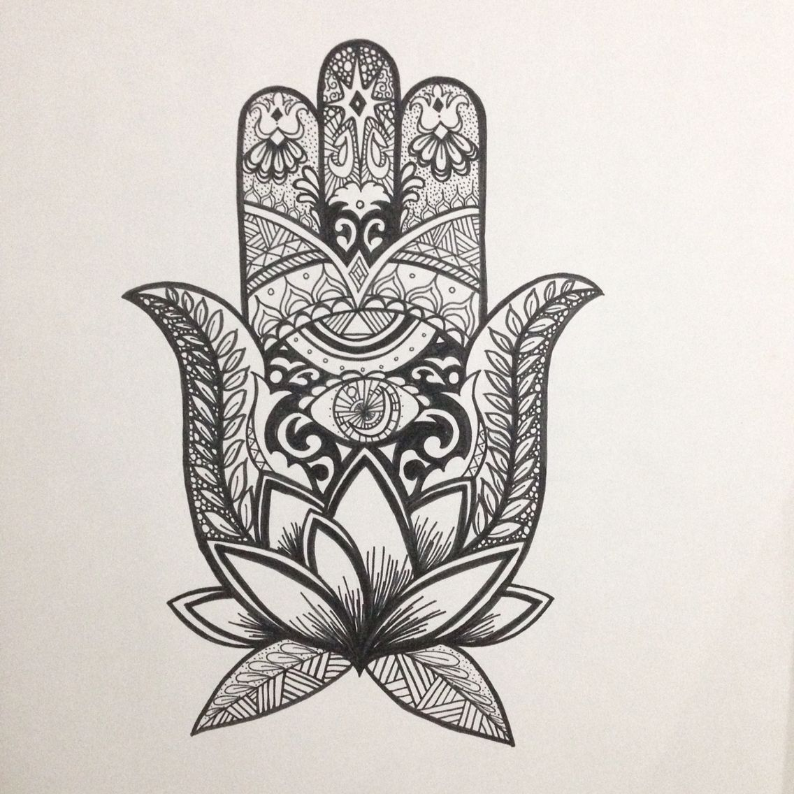 95d8333c6 Hamsa. Evil eye. Protection. Art. Lotus. Freehand. Drawing. @tiffanymontayre