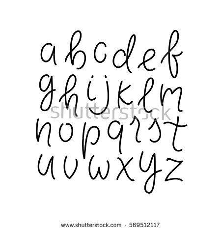 Simple Line Alphabet Thin Lowercase Typeface Font Cursive Lettering Abc Vector Illustration