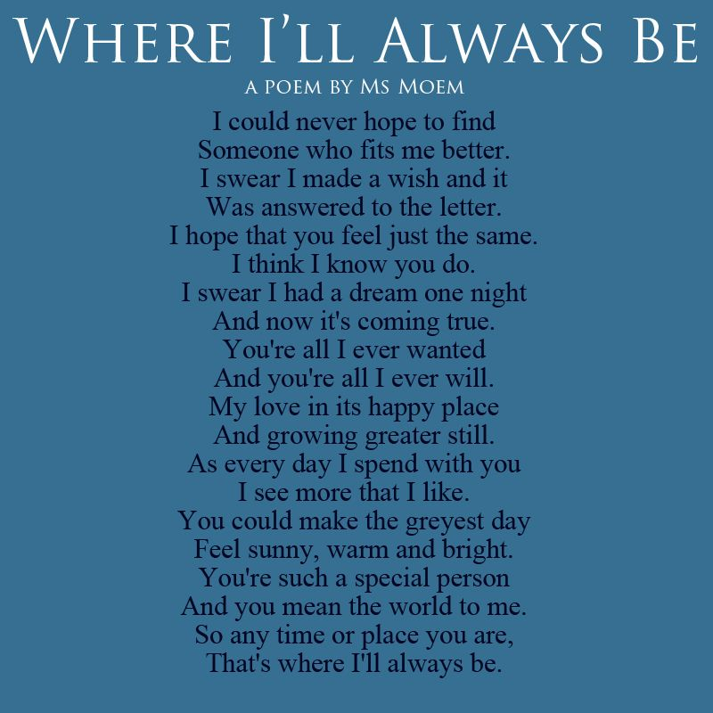 Where I'll Always Be - Wedding Poetry