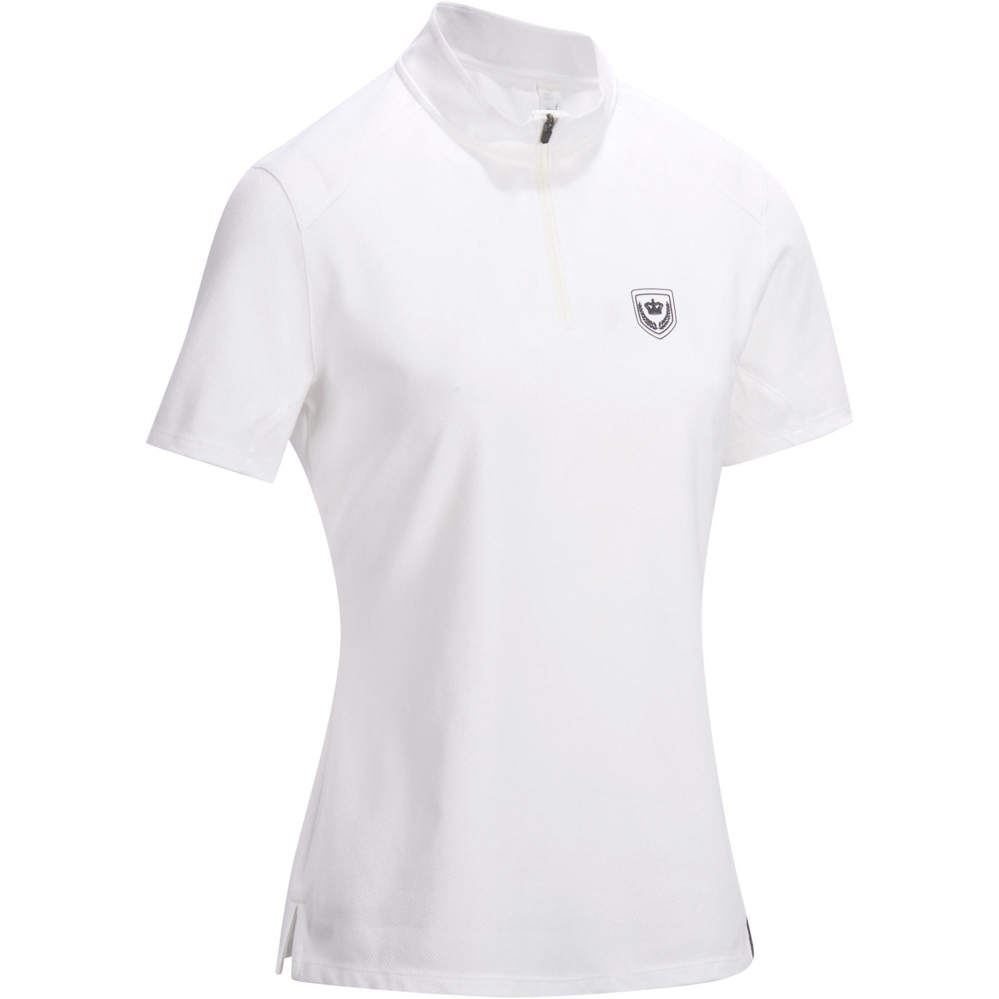 Reit-Poloshirt Kurzam 500 Turnier Damen weiß