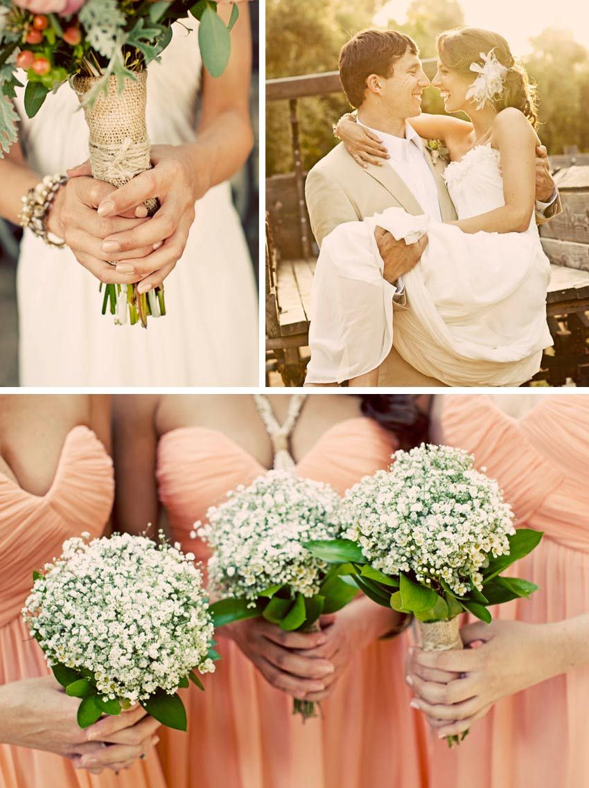 Babys breath bouquet green leaves underneath looks so much love everything about it burlap bouquet wrap white bouquet for bridesmaids colorful bouquet for bride salmon bridesmaid dresses ombrellifo Gallery