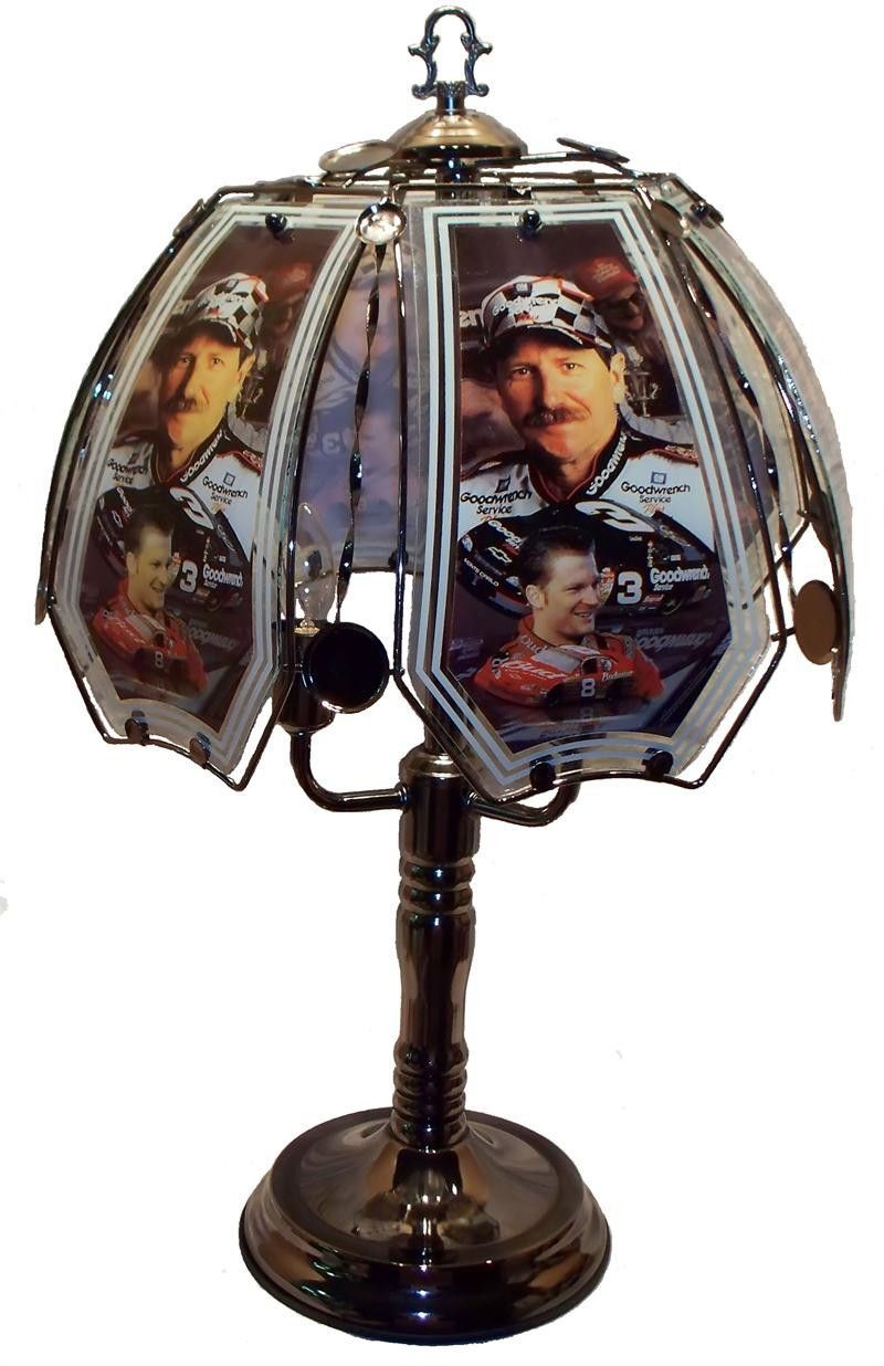 Dale Sr. and Jr. Black Chrome Touch Lamp w/ Glass Shade