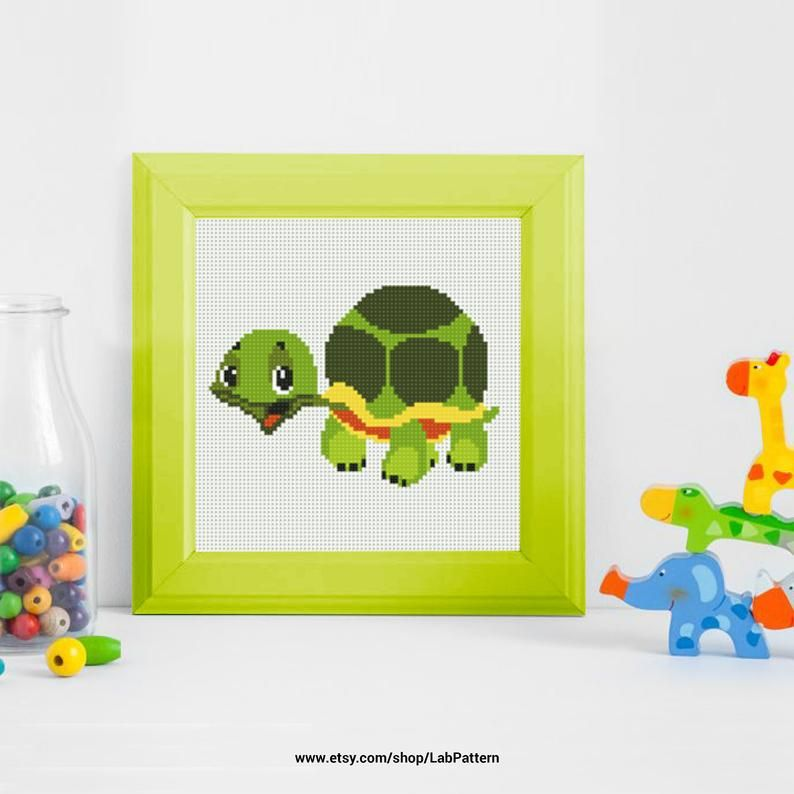 Funny Turtle Cross stitch pattern | Embroidery Pattern | Instant Download | Embroidery Designs