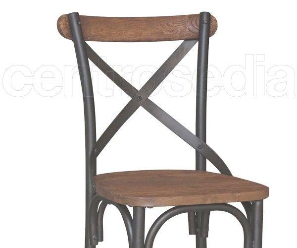 Cross Sedia Metallo Old Style - Seduta Legno-Sedie Vintage e Industriali