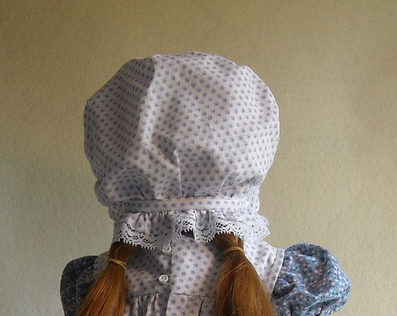 Star Flowered Bonnet Trimmed With White Lace by MaggieBeeDollShop