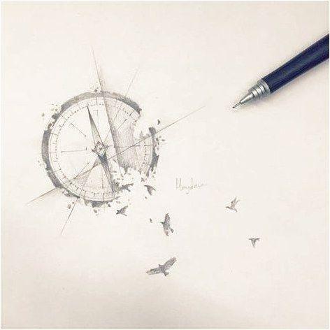 compass bird -  #CreativeTattoos Click to see more.